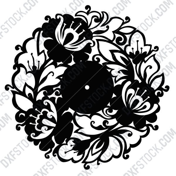 dxfstockcom-cnc-flowers-clock-111-1