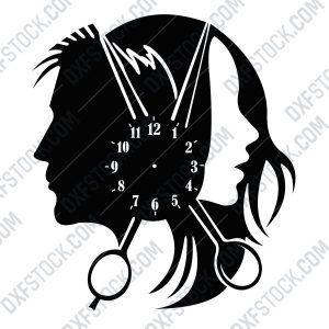 dxfstockcom-cnc-hair-salon-clock-design-1