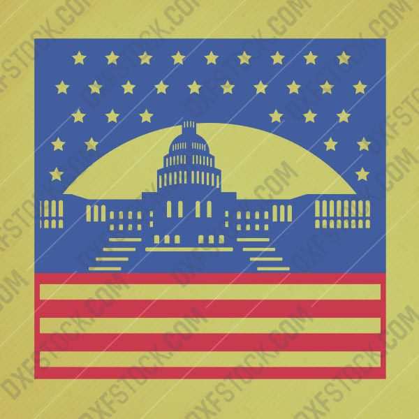 The White House USA DXF CDR SVG EPS File For Laser Cut CNC plasma or cnc router