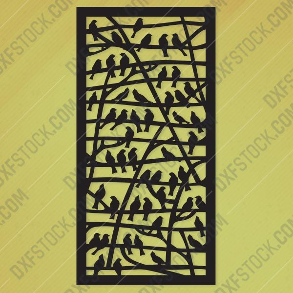 Partition With Birds Pattern Design files - EPS AI SVG DXF CDR R00145