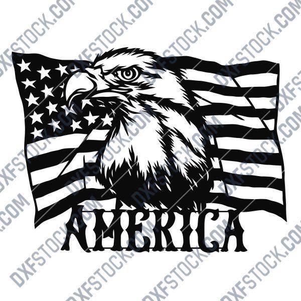 American Flag Eagle Design files - DXF SVG EPS AI CDR