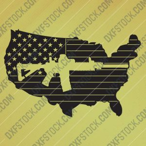 American flag vector with a Gun Design file - DXF SVG EPS AI CDR