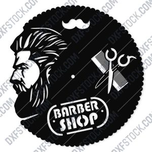Barbershop Wall Clock Design file - DXF SVG EPS AI CDR