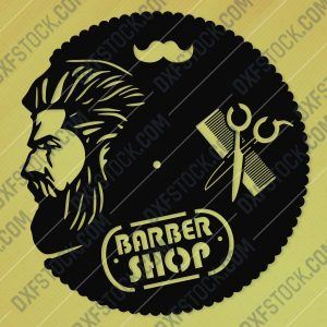 Barbershop Wall Clock Design file - DXF SVG EPS AI CDR