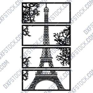 Wall art Vector - Design Pattern Eiffel Tower - SVG DXF EPS AI CDR