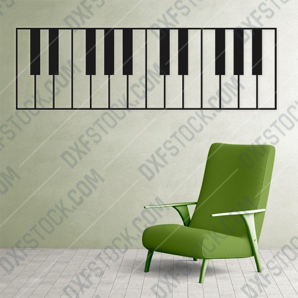 Piano Wall Art Keyboard Vector Design file - DXF SVG EPS AI CDR