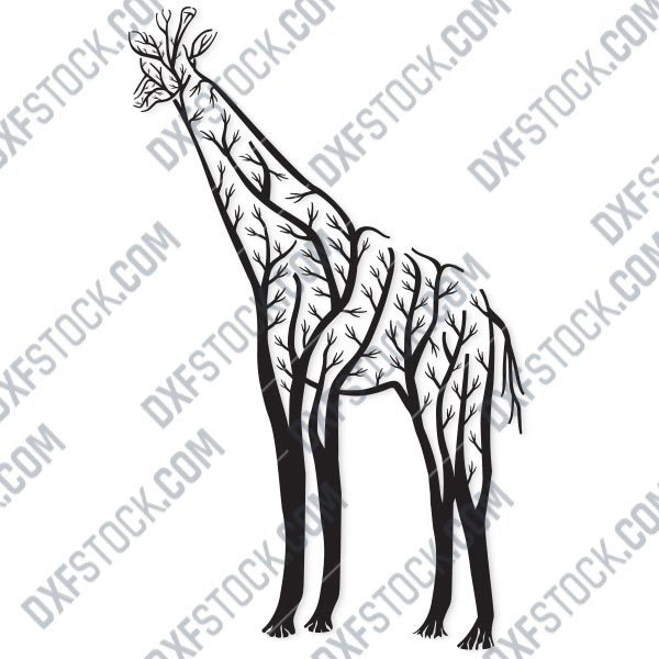 Giraffe Tree Art Vector Design file - EPS AI SVG DXF CDR