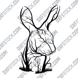 Rabbit Tree Art Vector Design file - DXF SVG EPS AI CDR