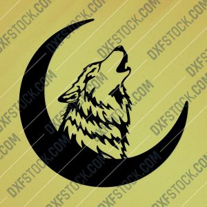 Wolf Crescent Moon Art Vector Design file - DXF SVG EPS AI CDR
