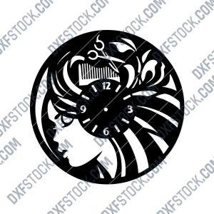 Hair Salon Wall Clock Beauty Salon Wall Art Decor Design file - DXF SVG EPS AI CDR