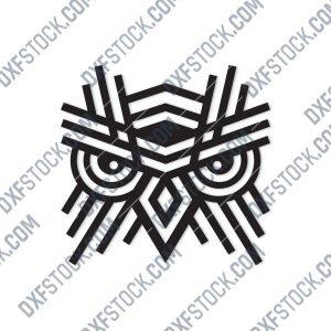 OWL Geometric Wall Art Design files - DXF SVG EPS AI CDR