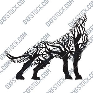 Wolf with tree Vector Design file - DXF SVG EPS AI CDR