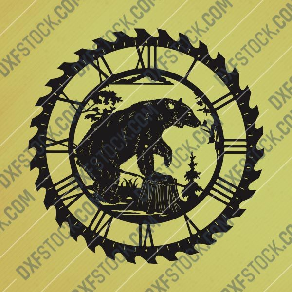 Bear wall clock Vector Design file - DXF SVG EPS AI CDR