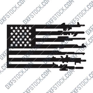 Patriotic USA Flag American Vector Design files - DXF SVG EPS AI CDR P226