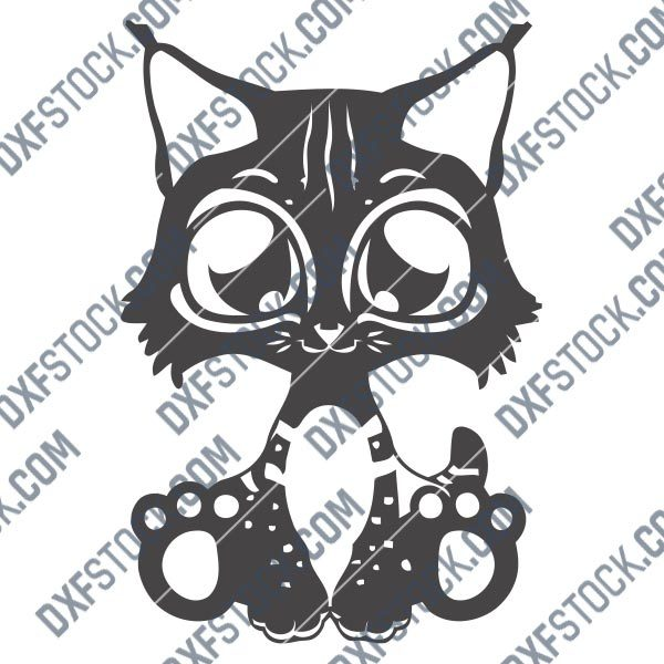 Cute cat design files – DXF SVG EPS AI CDR