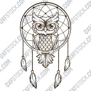 Owl dream catcher design files - DXF SVG EPS AI CDR