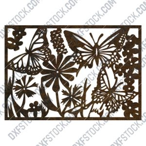 Butterfly flowers wall decoration design files - DXF SVG EPS AI CDR