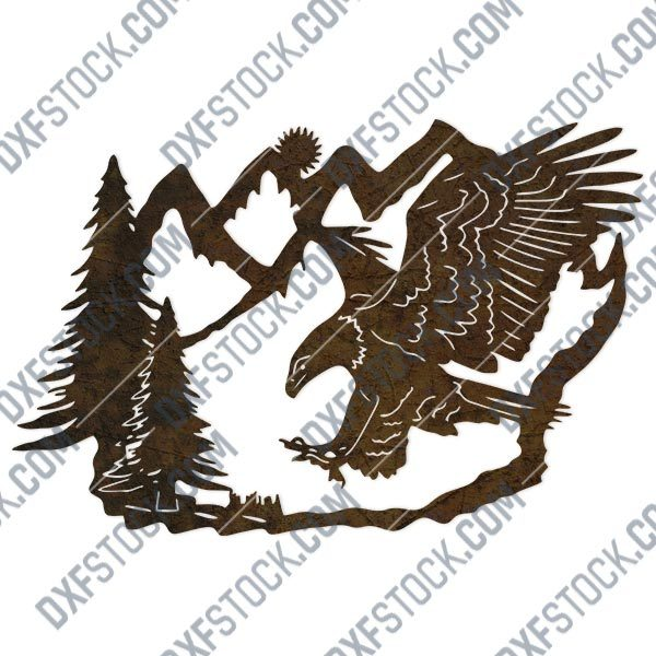 Eagle and pine tree vector decoration design files - DXF SVG EPS AI CDR