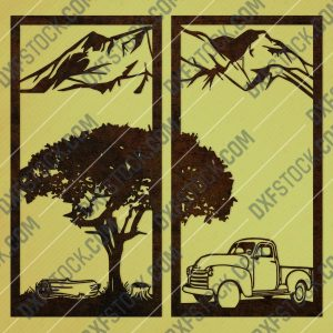 Tree with mountain decal and car vector design files - DXF SVG EPS AI CDR