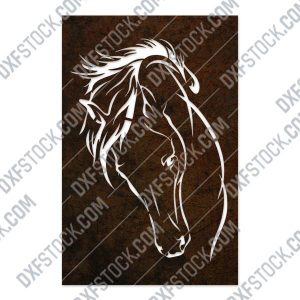 Horse face vector design files - DXF SVG EPS AI CDR