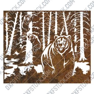 Bears in trees design files - DXF SVG EPS AI CDR