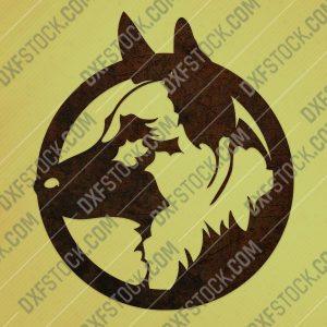 Dog german shepherd vector design files - DXF SVG EPS AI CDR