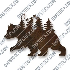 Bear in the woods design files - DXF SVG EPS AI CDR