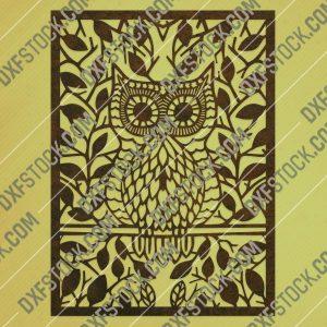 Owl leaves design files - DXF SVG EPS AI CDR