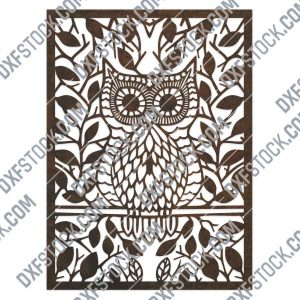 Owl leaves design files - DXF SVG EPS AI CDR