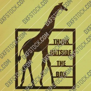 Think outside the box giraffe vector design file - EPS AI SVG DXF CDR