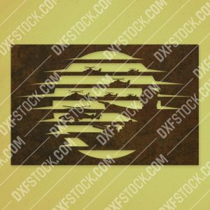 Sunset with general during war vector design files - SVG DXF EPS AI CDR